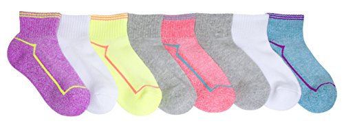 Stride Rite Girls' Big 8-Pack Quarter, performance stripes/assorted colors, Sock: 8-9.5 / Shoe: 13-4