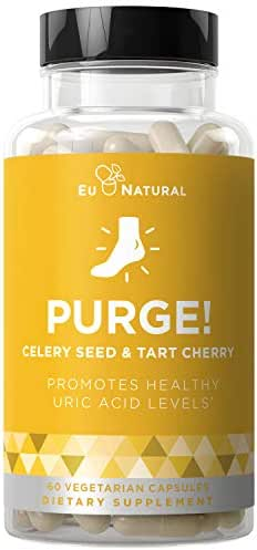 Purge! Uric Acid Cleanse & Joint Support – Ready to Eat & Drink What You Want? – Active Mobility, Strong Flexibility, Healthy Inflammation – Tart Cherry & Celery Seed – 60 Vegetarian Soft Capsules