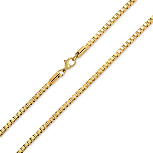 Chain Necklace for Women 1mm Box Chain 14k Gold Dipped - Add your own pendant 14 16 18 20 24 30