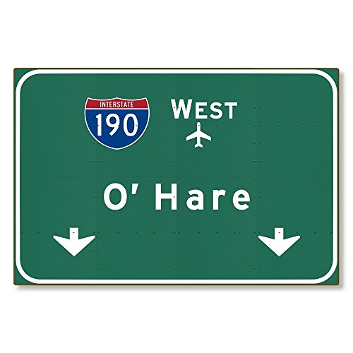 American Yesteryear Chicago O'Hare Airport I-190 W Metal Interstate Highway Freeway Sign Novelty Reproduction Wall Decor Art :: Steel :: not tin 36x24 [AYY095]