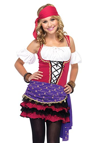 Leg Avenue Junior's 3 Piece Crystal Ball Gypsy Costume, Pink/Purple, Medium/Large