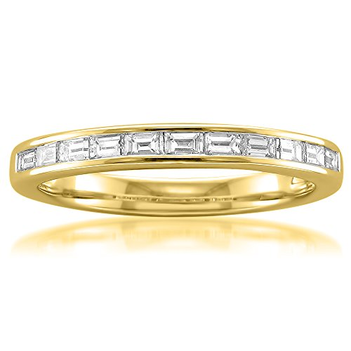 14k Yellow Gold Baguette Diamond Bridal Wedding Band Ring (1/2 cttw, I-J, VS2-SI1), Size 7