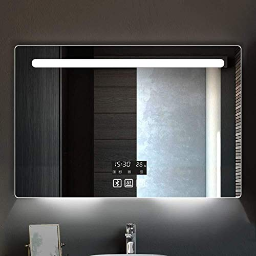 Wall-Mounted LED Bathroom Mirror with Bluetooth Speaker,Illuminated Vanity Mirror with Sensor Switch&Demister&Time - Led Demister Bathroom Bluetooth Mirrors And With