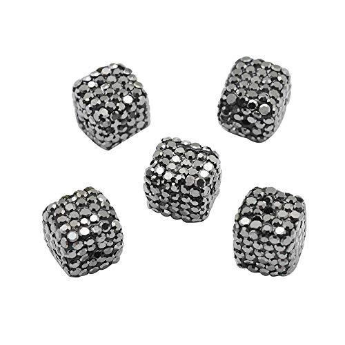 (PH PandaHall About 10 Pcs Cube Clay Pave Disco Beads Czech Crystal Rhinestone Shamballa Charm Spacer Bead for Jewelry Making Hematite)