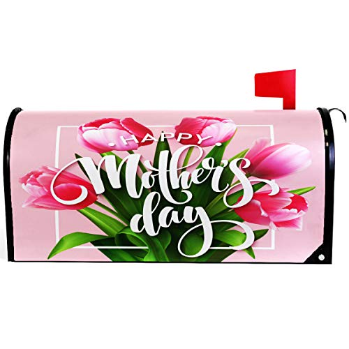 (Wamika Mother Day Spring Pink Floral Heart Mailbox Cover Magnetic Standard Size,Best Super Mom Letter Post Box Cover Wrap Decoration Welcome Home Garden Outdoor 21