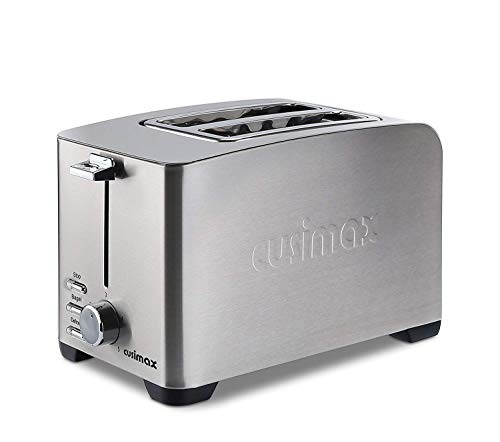 Cusimax 2-Slice Toaster 5 Shade Settings - Pop Up Extra Wide Slot Toaster - CMST-T85 - Stainless Steel