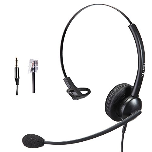 Cisco Headset RJ9 Phone Headset for Cisco IP Phone with Noise Cancelling Microphone Plus 3.5mm Connector for Mobiles iPhone Samsung Androids