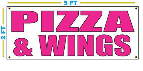 Pizza Wing Hot - PIZZA & WINGS in HOT PINK Banner sign