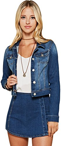 Trend Director Women's Casual Basic Cropped Long Sleeve Button Down Denim Jacket in White, Black & Blue (Small, Blue) Basic Denim Jacket