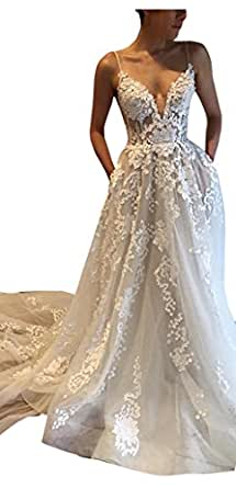 kelaixiang Women's Straps Tulle A-Line Double V-Neck Long Wedding Dress For Bride