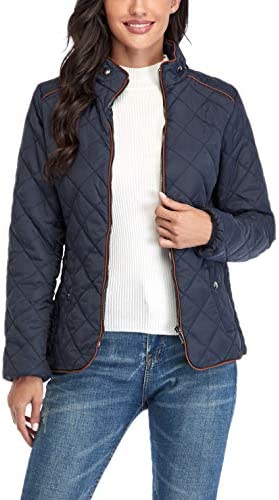 ANIENAYA WOMEN'S LIGHTWEIGHT QUILTED JACKET STAND COLLAR FULLY LINED ZIP WARM OUTWEAR W 2 POCKETS…