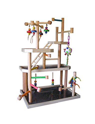 BirdsComfort Large Parrot Play Gym, Bird Activity Center, Wood Tabletop Playpen for Small Pionus, Amazons, African Greys, Eclectus, - Base: 30'' x 20' , Overall Height: 44'' - 4 levels