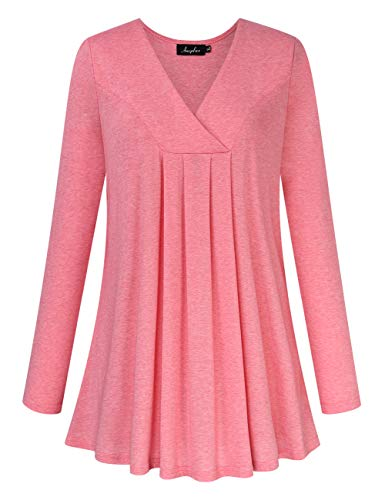 AMZ PLUS Women's Plus Size Pleated Henley Tops V-Neck Loose Blouse Casual Tunic Shirt Flattering Pink 3XL (Plus Size Blouses And Tops)
