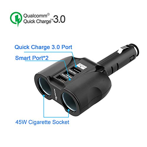 (ROCKETEK 2-Socket 90W 12V/24V DC Outlet Multi Socket Cigarette Lighter Power Adapter with Triple USB 3.0 Quick Charge Car USB Splitter Charger for iPhone/ipad/Android Cell Phone/Tablet, GPS)