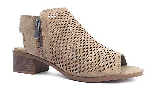 J. Adams Tracy Perforated Flat Bootie - Casual Open Toe Low Heel - Cut Out Shoe, Light Taupe, - Bootie Low