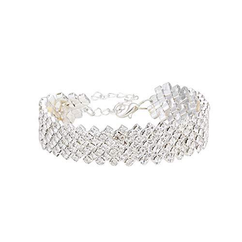 CENAPOG Wide Silver Crystal Bracelet for Women Rhinestone Station Tennis Bracelet Adjustable Bangle Bracelet Wedding Bridal Evening Party Bracelet(Silver) ()