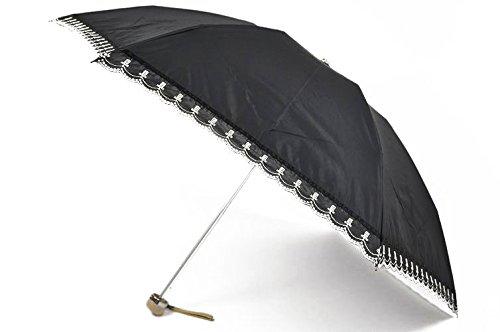 (ランバン) ランバン 折りたたみ 日傘 レディース ロゴ スカラップ刺繍 オーガンジー 黒 B07413FYLL