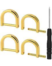 SAVITA 4st 26mm Metaal D-ringen Schroef, met Kleine Schroevendraaier voor Portemonnees Handtassen Tassen Crossbody Sleutelhangers Doe-Het-Zelf Knutselen (Gouden)