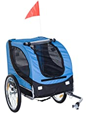 Aosom Dog Bike Trailer Foldable Pet Cart Bicycle Wagon Cargo Carrier Attachment for Travel with Safety Leash Blue