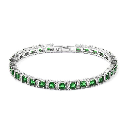 "Shop LC Delivering Joy Square Green Cubic Zirconia Eternity Bridal Tennis Bracelet for Women CZ Girls Classic Jewelry 7.5"" from Shop LC Delivering Joy"