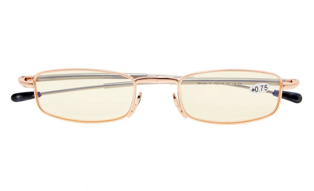Anti Blue Rays,Reduce Eyestrain,UV Protection,Telescopic Arms,Folding Computer Reading Glasses(Gold,Amber Tinted Lenses) without Strength