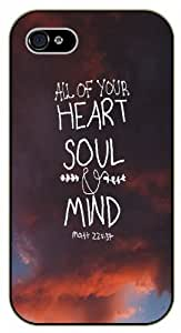 All of your heart soul and mind - Pink clouds, sky - Bible verse IPHONE 5C black plastic case / Christian Verses