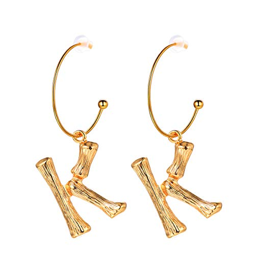 Letter Earrings Semi-Hoop Drop Dangle Capital Alphabet Small Charms Hypoallergenic Fashion Jewelry Open Half Circle Round Wire 18K Gold Plated Metal Alloy Bamboo Initial Earrings for Women ()