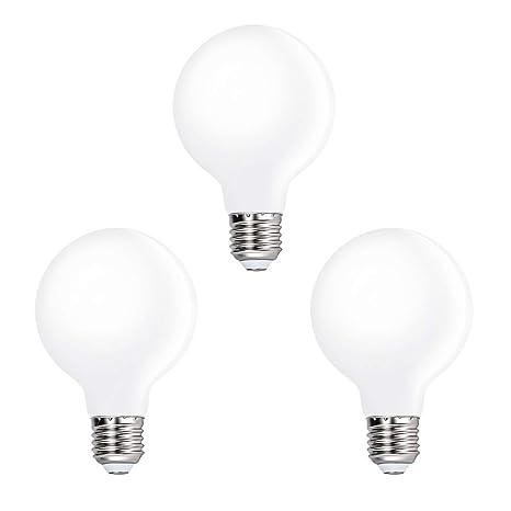 Lamparas Bombillas Globos de LED de Edison E27 Bajo Consumo G80 6W Luz Fria 5000K Iluminación Omnidireccional para Lampara de Techo, Lot de 3 de ...