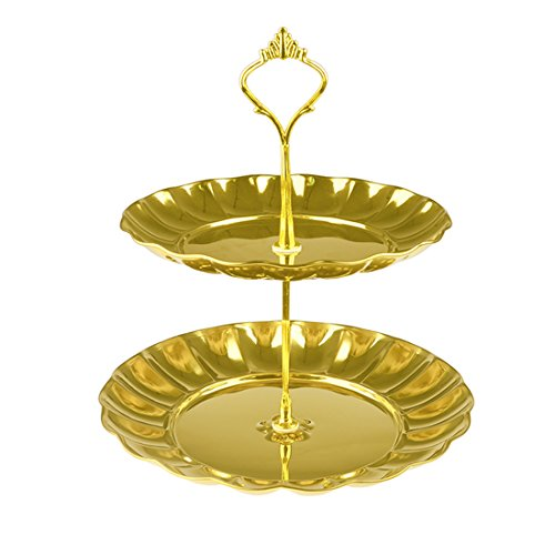 Fruit Plate, Petforu 2 Tier Fruits Cakes Desserts Plate Stand Gold Color Stainless Steel Plates