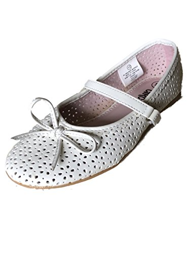 Toddler Girls White Dalila Cut Out Bow Front Mary Janes Flats Ballet Shoes 12 - Girls Circo Bow