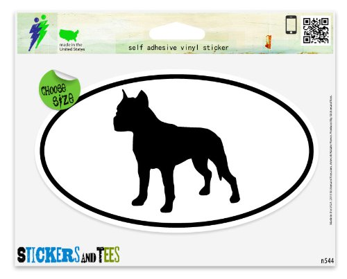 (American Staffordshire Terrier Cropped Ears Dog Breed Shape Oval Vinyl Car Bumper Window Sticker 3
