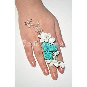 Pure White Stephanotis & Turquoise Roses Crystals Wedding Ring Corsage 68