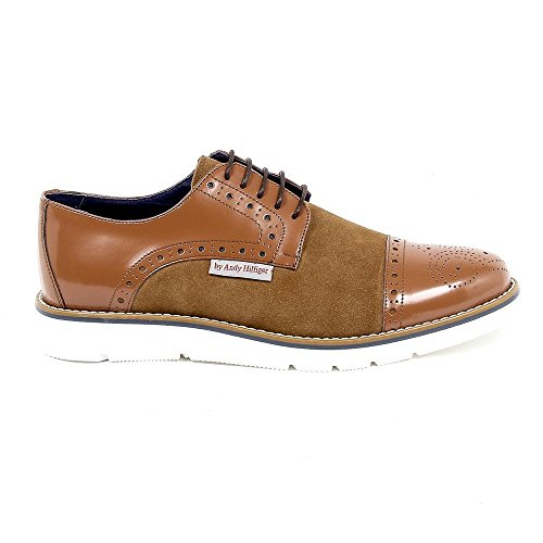 Brown 42 Eur - 9 Us Andrew Charles Mens Brogue Oxford Shoe 911 Abrasivato Camoscio Cognac