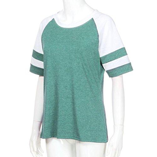 Estate shirt T colore corta top sportivo Verde Manica Camicia casuale gilet Donna Sexy Doppio Rcool Elegante a15nAwqwz