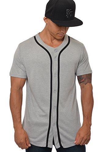 YoungLA Baseball Jersey Plain Shirts for Men Button Down Sports Tee Made w/Soft Cotton 304 Gray - X-Large