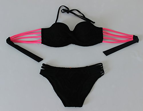 YONGYI Europa y el elegante y de acero de verano en la playa y reunir el bikini multi-color multi-hilo lei bañador de malla pequeñas partículas de acero el pecho y bikini Negro