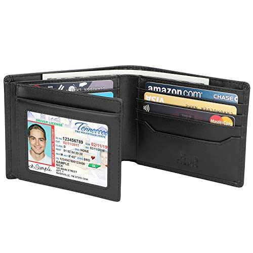 Wallets for Men - RFID Blocking Trifold Genuine Leather Wallet With 2 ID Window (Vintage Black)