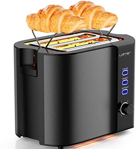 2 Slice Toaster, LOFTER Stainless Steel Bread Toasters with Warming Rack Best Rated Prime, Extra Wide Slots, 6 Bread Shade Settings, Defrost Reheat Cancel Function, Removable Crumb Tray, 800W, Grey