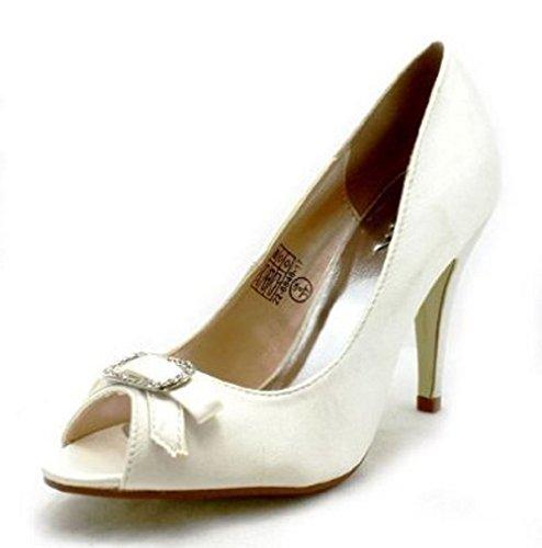 Damen Satin Peep Toe Pumps mit Strass-Schleife Elfenbein