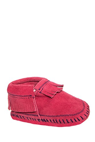 Nevada Leather (Minnetonka Infant-Girls' Riley Moccasin Booties Hot Pink 4 M US)