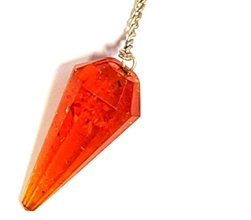 Amber Multifaceted Crystal Dowsing Pendulum Pendant. Good for Reiki and Crystal Healing. (Crystal Pendulum Finger)