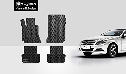 ToughPRO Floor Mats Set (Front Row + 2nd Row) Compatible with Mercedes-Benz C Class (Sedan) - All Weather - Heavy Duty - (Made in USA) - Black Rubber - 2008, 2009, 2010, 2011, 2012, 2013, 2014
