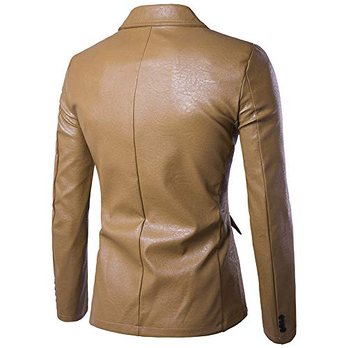 Men's Fashion Pure Color Leather Casual Single Row Buckle Leather Suit Coat