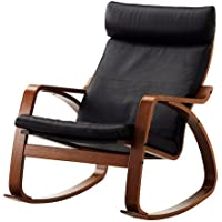 Ikea Poang Rocking Chair Medium Brown with Robust Black Leather Cushion
