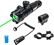 Tactical Green Dot Beam Sight Laser Pressure Switch Picatinny Rail Mount and Barrel Ring Mount
