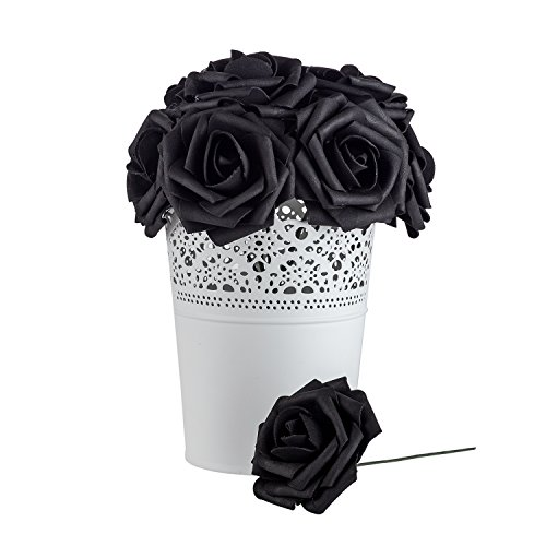 And Wedding White Decorations Black (Dinopure Wedding Bouquet 50pcs Artificial Flowers White Real Touch Artificial Roses for Bouquets Centerpieces Wedding Party Baby Shower DIY Decorations (black))