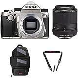 Pentax KP DSLR Camera (Silver) with a Pentax HD PENTAX-DA 55-300mm f/4.5-6.3 ED PLM WR RE Lens - 21277 + Pentax 85231 Sling Bag 2 & Pentax 85232 Padded DSLR Strap
