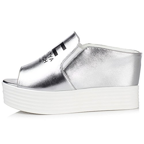 DecoStain Women's PU Leather Wedge Heel Clogs & Mules Silver M8HxtM5Fr1