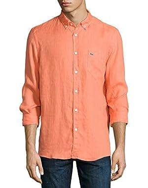 Mens Orange Papaya Linen Button Down Shirt EUR 38 US Small