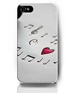 UKASE Designed Phone Cases for iPhone 4 4S - Heart Theme - Music Notes and Red Heart